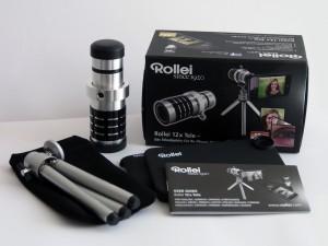 Im Set: Das 12-fach Objektiv von Rollei inklusive Stativ und Zubehör